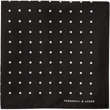 TURNBULL & ASSER Polka-dot pocket square (Blk