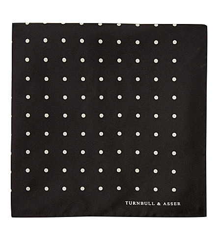 TURNBULL & ASSER Polka-dot pocket square (Blk