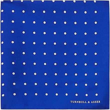 TURNBULL & ASSER Polka-dot pocket square (Blue