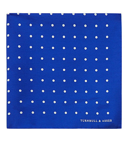 TURNBULL & ASSER Polka-dot pocket square (Blue