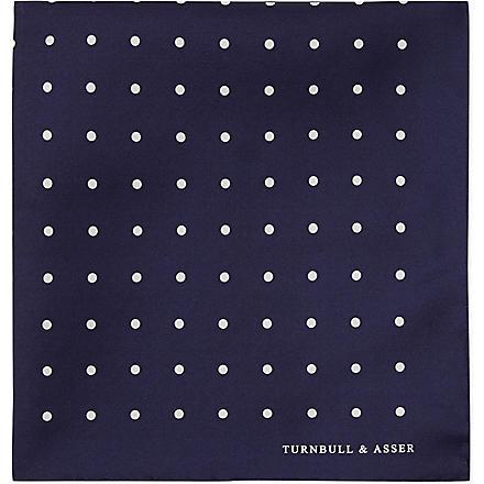 TURNBULL & ASSER Polka-dot pocket square (Nvy