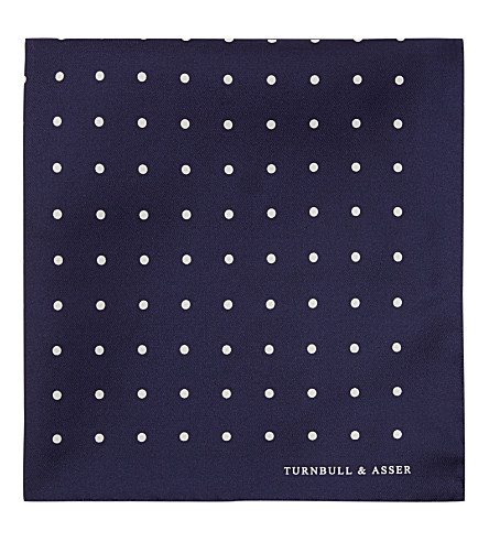TURNBULL & ASSER Polka-dot pocket square (Nvy