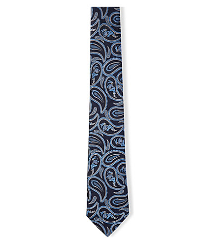 TURNBULL & ASSER Jester paisley-patterned silk-jacquard tie (Midnight/sky