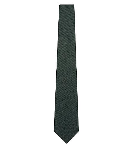 TURNBULL & ASSER Solid grenadine silk tie (Forrest