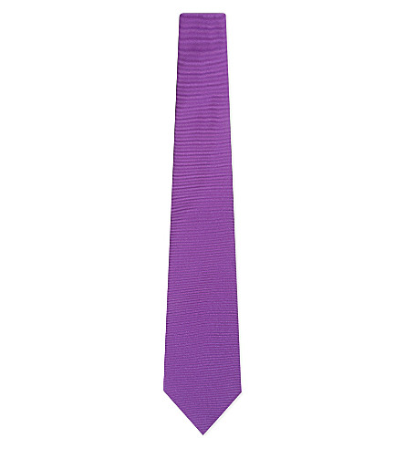 TURNBULL & ASSER Solid twill silk tie (Purple