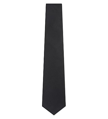 TURNBULL & ASSER Solid satin silk tie (Black