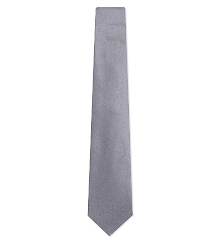 TURNBULL & ASSER Solid satin silk tie (Grey