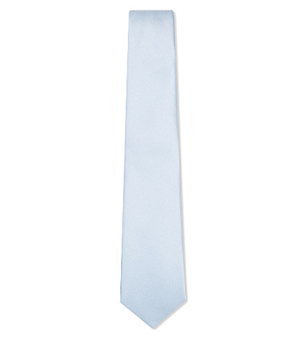 TURNBULL & ASSER Solid satin silk tie (Sky