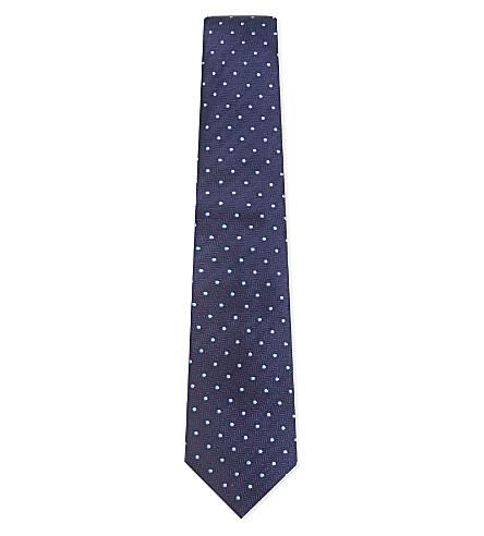 TURNBULL & ASSER Contrast spot silk tie (Blue