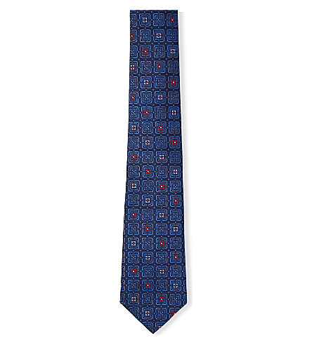 TURNBULL & ASSER Floral check-patterned silk-jacquard tie (Navy