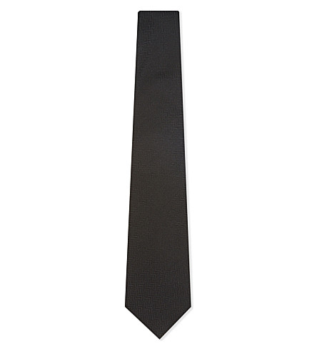 ETON Solid herringbone silk tie (Black