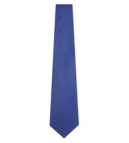 ETON Zigzag stitch silk tie (Blue