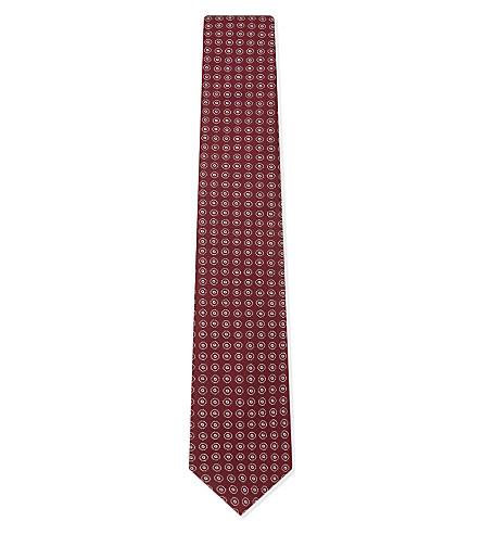 ETON Circle-pattern silk tie (Burgundy