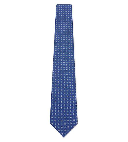 ETON Floral-paisley silk tie (Blue