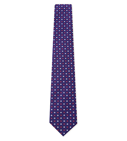 ETON Flower silk tie (Blue