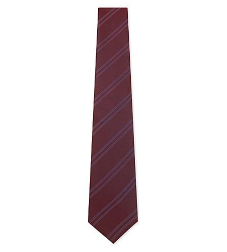 ETON Twin stripe silk tie (Burgundy