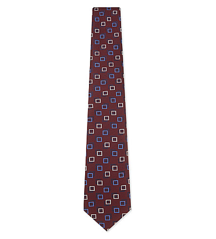 ETON Two-tone silk tie (Burgundy
