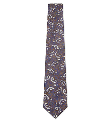 ETON Floral and paisley silk tie (Navy