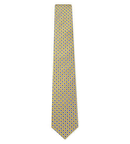 ETON Tile pattern silk tie (Blue/gold