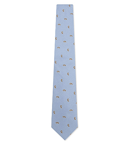 ETON Paisley teardrop silk tie (Light+blue
