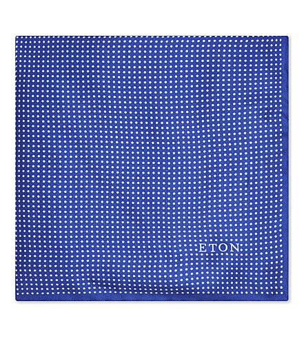 ETON Polka-dot silk pocket square (Navy