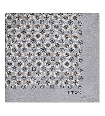 ETON Floral circle silk pocket square (Grey