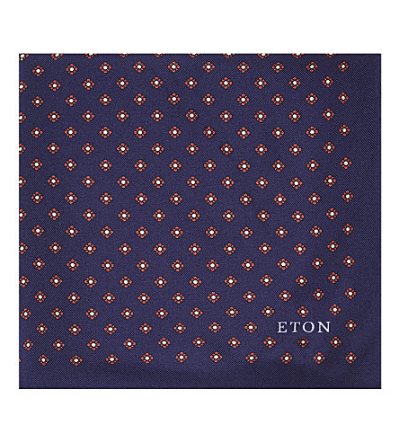 ETON Flower pattern silk pocket square (Navy/bordeux