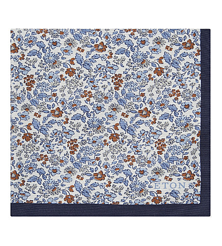 ETON Floral pattern cotton-silk pocket square (Blues