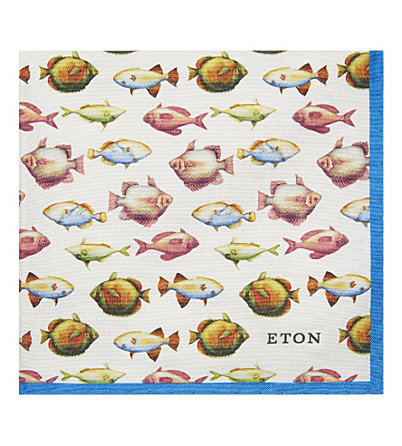 ETON Fish pattern cotton-silk pocket square (Navy