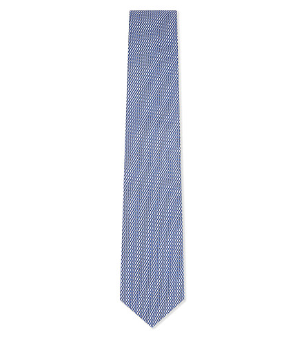ETON Diamond pattern silk tie (Blue