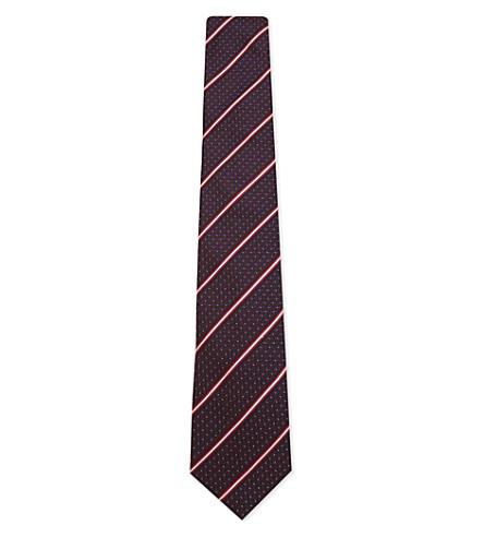 ETON Dot and diagonal stripe silk-cotton tie (Bordeux/red