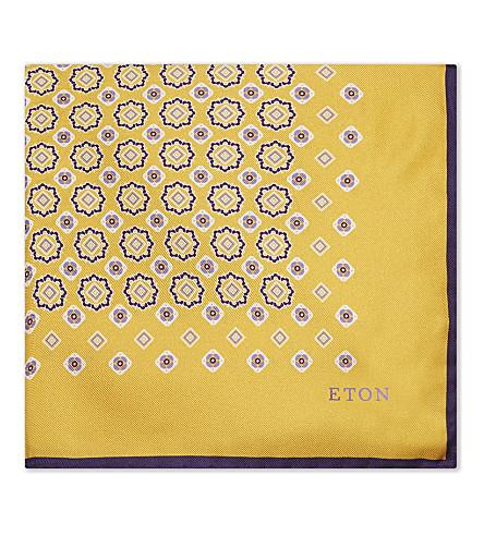 ETON Floral and tile silk pocket square (Gold