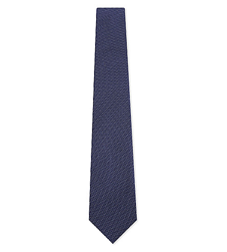 ETON Signature dot silk tie (Dark+navy