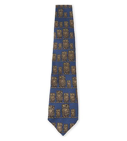 FORNASETTI Owl-print silk tie (Blue