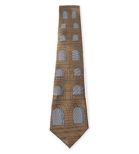 FORNASETTI Aquaduct silk tie (Brown