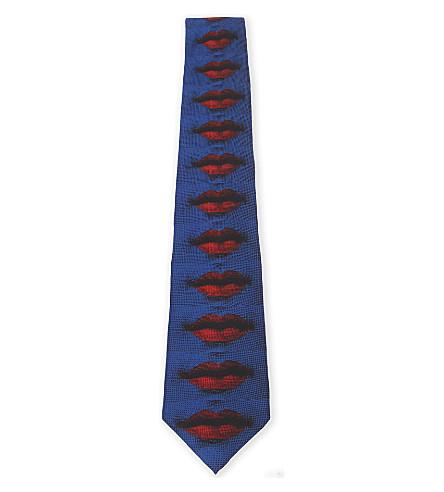 FORNASETTI Lips-print silk tie (Blue