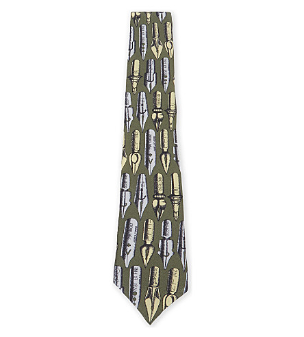 FORNASETTI Fountain pen silk tie (Green