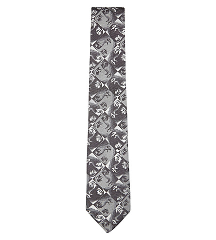 FORNASETTI Silk kaleidoscope face tie (Black/white