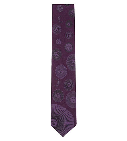 FORNASETTI Silk sun faces tie (Plum