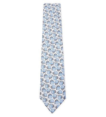 DUCHAMP Roses silk tie (Blue