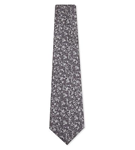 DUCHAMP Pansy pattern silk tie (Grey