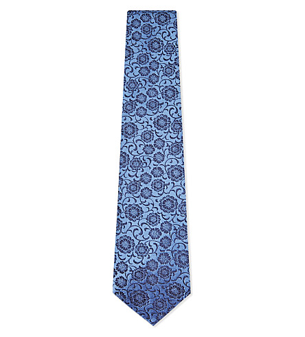DUCHAMP Tonal floral silk tie (Blue