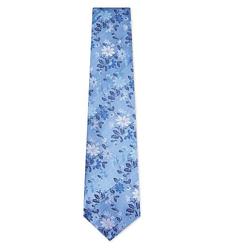 DUCHAMP Fancy floral silk tie (Blue