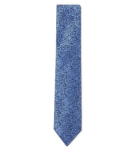 DUCHAMP LONDON 30s ditsy floral silk tie (Blue