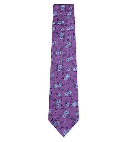 DUCHAMP Floral silk tie (Purrple