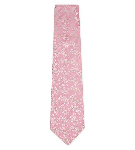 DUCHAMP Daisy floral silk tie (Pink