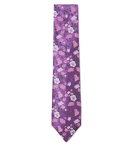 DUCHAMP LONDON Summer Garden silk tie (Purple