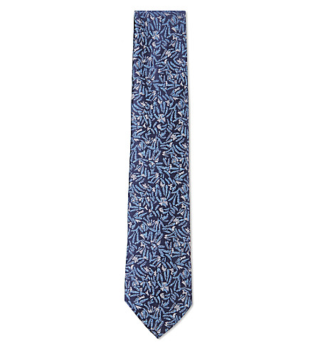 DUCHAMP LONDON Modernist floral silk tie (Blue