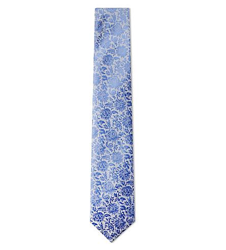 DUCHAMP LONDON Classical floral silk tie (Blue