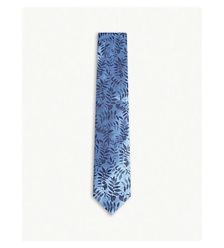 DUCHAMP热带花卉印花丝领带 (蓝色
